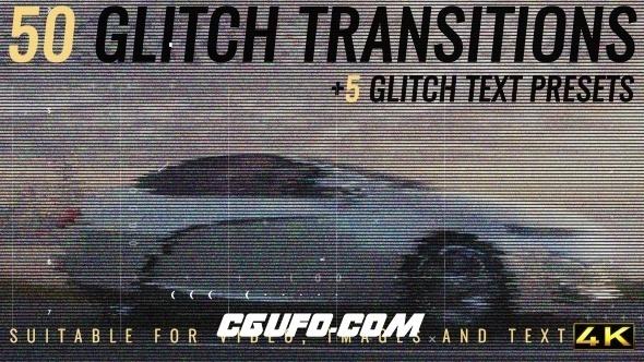 6988视频干扰特效转场过渡动画AE模版,Glitch Transitions