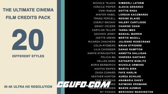 6991电影电视剧片尾演员职员表字幕动画AE模版,20 Cinema Film Credits Pack