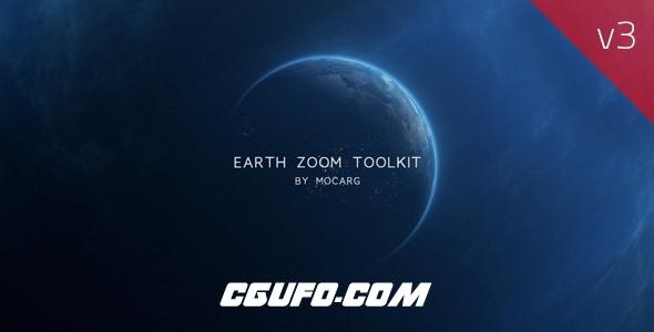 7008高科技地球特效动画AE模版,Earth Zoom Toolkit v3