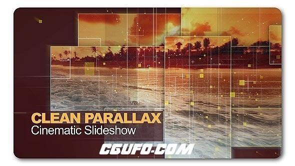 7018高科技元素图片展示包装动画AE模版,Clean Parallax Cinematic Slideshow