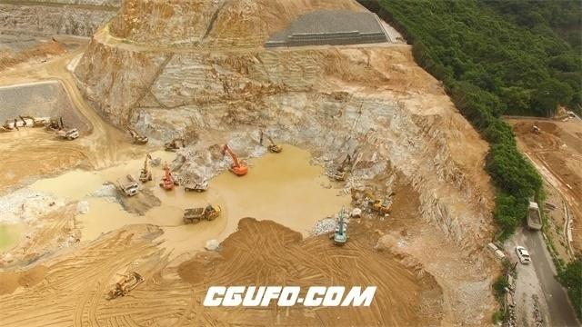 2787-开垦荒山施工工地砂石运输机械采集石材机械运作镜头高清实拍视频素材