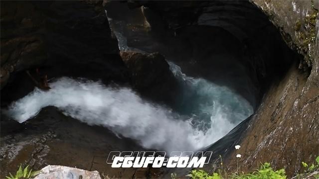 2791-壮观美丽欧洲阿尔卑斯山特吕默尔巴赫瀑布冰河瀑布高清实拍视频素材