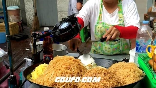 2798-路边小摊店主炒杂菜米粉加入调料烹饪过程工作记录高清视频拍摄
