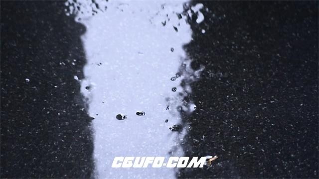 2800-濛濛细雨雨滴敲打地面泛起微波雨水倒影地面水珠变化高清实拍视频素材