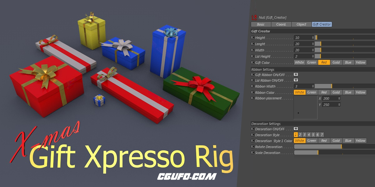 C4D礼品盒预设模型 X mas Gift Rig