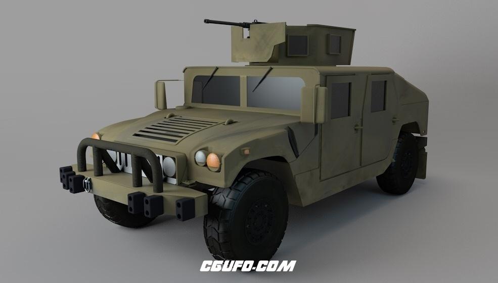 军用吉普车 军车 悍马军车C4D模型 Humvee 3d model