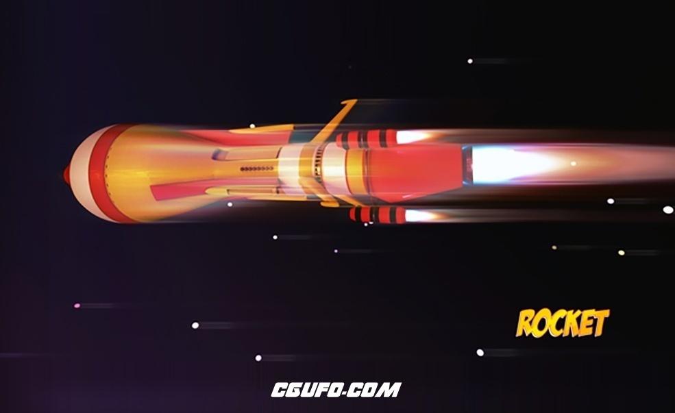 卡通火箭C4D模型 Cartoon Rocket