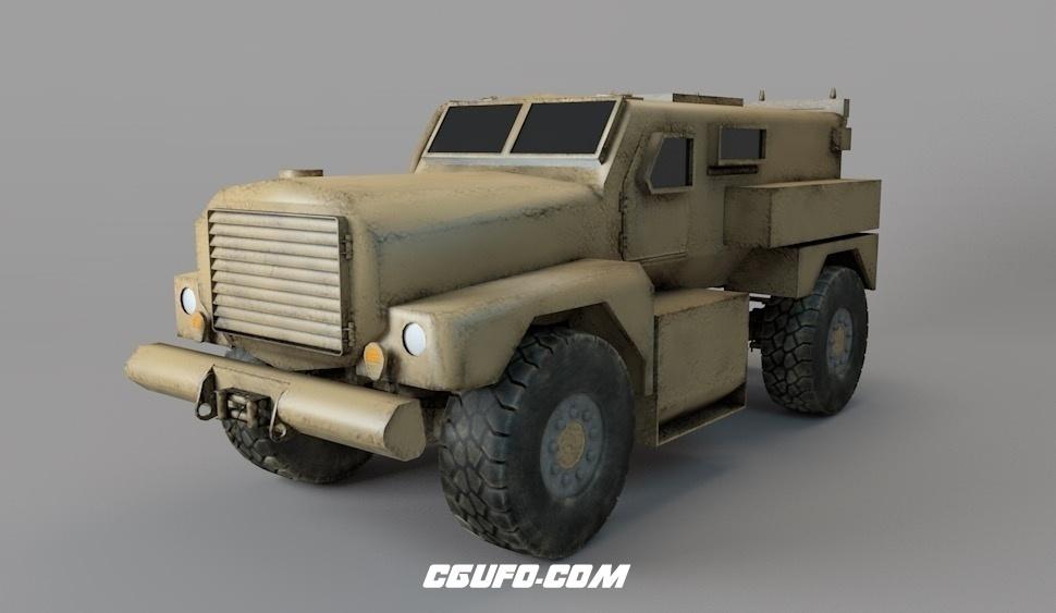军用装甲车C4D模型 Military armored vehicle