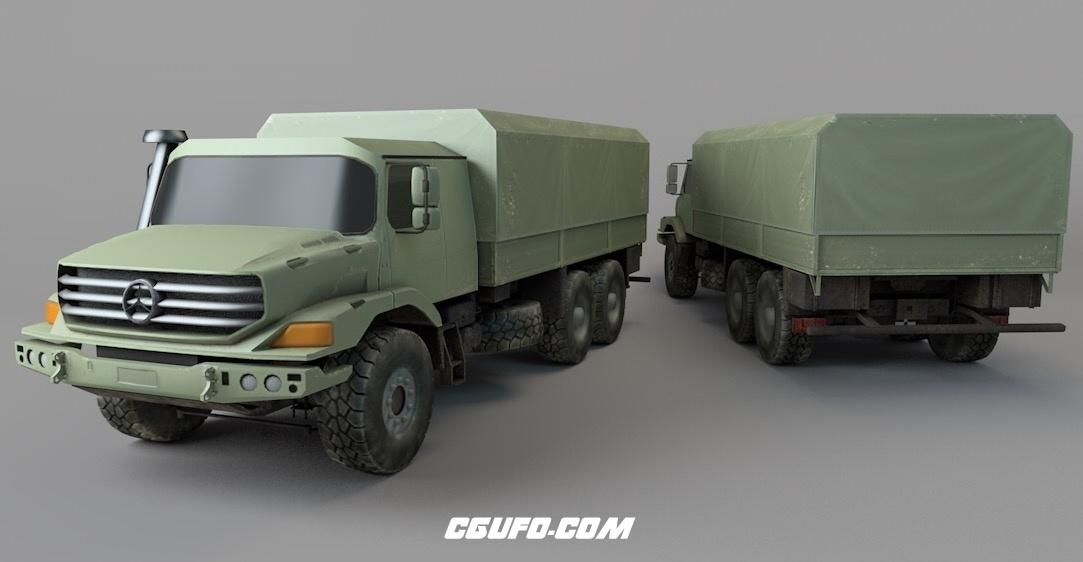 奔驰军用大卡车C4D模型 Military trucks[包含会员内容]