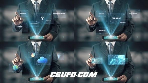 7032高科技商务人士演示动画AE模版,Hologram Businessman Screens