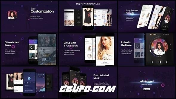 7046时尚APP产品展示促销动画AE模版,Cosmo l App Promo Kit
