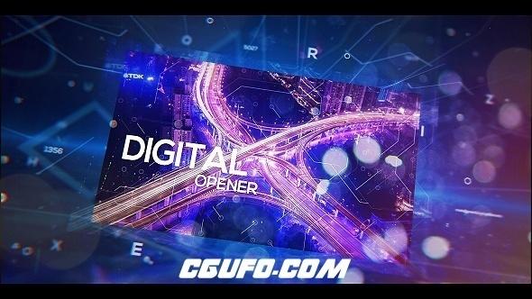 7060高科技数字图片展示动画AE模版,Digital Holographic Opener