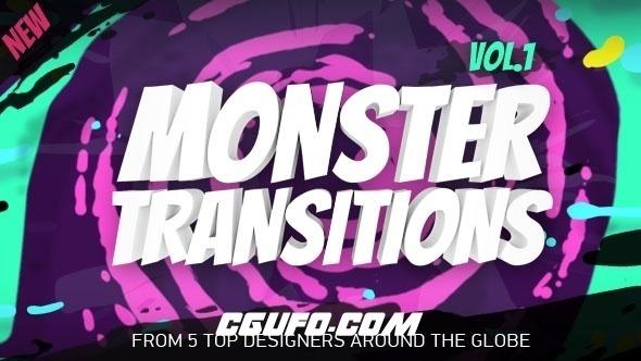 7075-125组创意图形MG动画转场过渡动画AE模版,125+ Monster Transitions