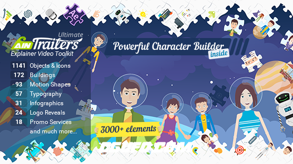 7097卡通人物角色MG动画AE模版,AinTrailers – Ultimate Explainer Video Toolkit V1.3