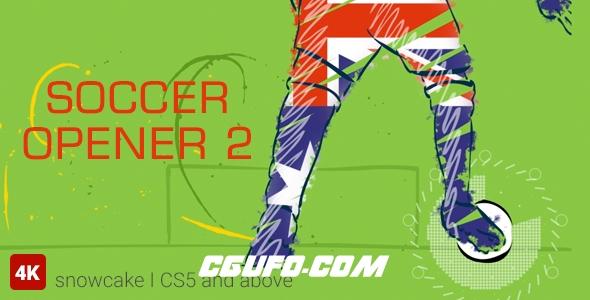 7105涂鸦手绘足球宣传片头AE模版,Soccer Opener 2