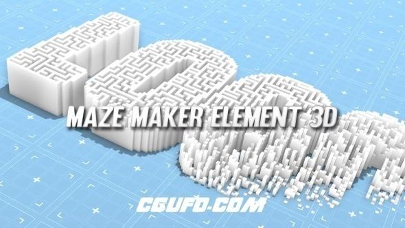 7109三维矩阵Logo演绎文字动画AE模版,Maze Maker Element 3D