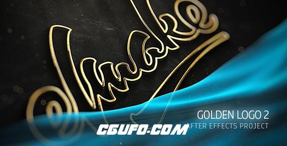 7130描边logo演绎动画AE模版,Gold Logo