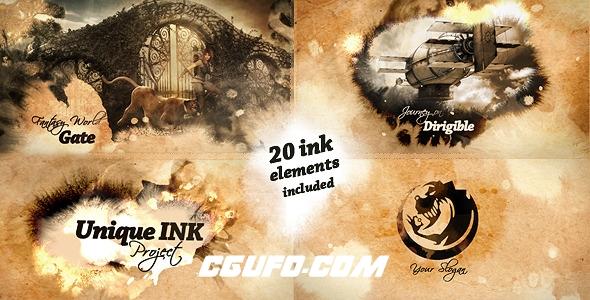7133复古水墨遮罩图片展示宣传片AE模版,Unique Ink