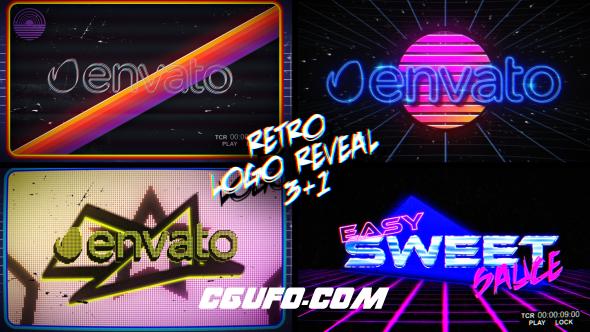 7142复古游戏文字Logo演绎动画AE模版,Retro Logo Reveal Pack Vol.2