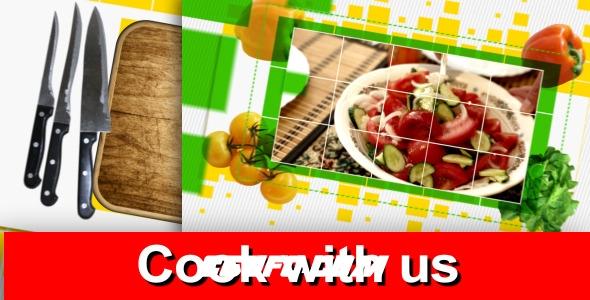 7162美食类电视栏目整体包装动画AE模版,Cook With Us – Tv Pack