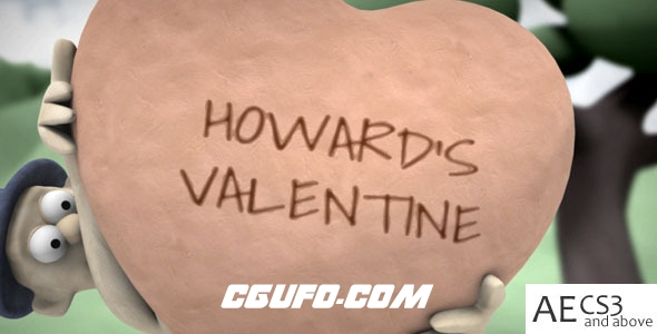 7165卡通爱情类片头特效动画AE模版,Howard's Valentine