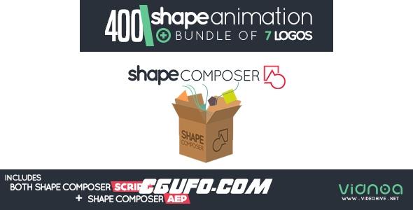 7152AE预设400+形状图层MG动画生成预设附带AE模版,Shape Composer
