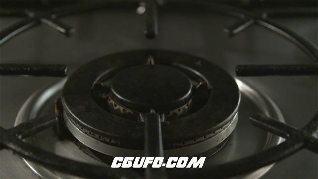 2963-简洁炉具明火点燃照明慢动作动态家电厨具使用运作镜头高清实拍视频素材