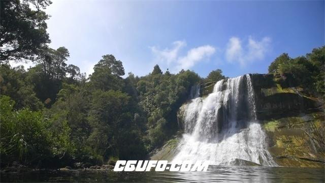 2974-森林阳光明媚照射高山间瀑布直流而下特写镜头高清实拍视频素材