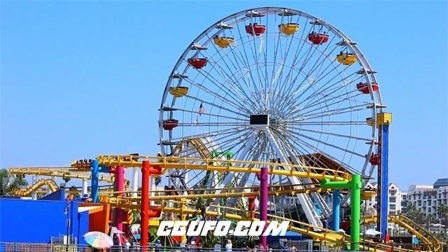 2979-夏日假期游乐场摩天轮匀速旋转过山车行驶娱乐设施运作高清实拍视频素材
