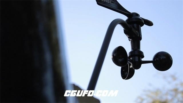 2980-小型天气检测器风力吹动旋转运作特写镜头高清实拍视频素材