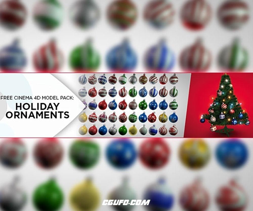 圣诞节装饰品模型及贴图材质包 HOLIDAY ORNAMENT SHADER PACK VOL. 2