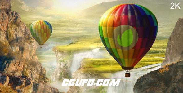 2550卡通热气球logo演绎动画AE模版,Colourful World – Hot Air Balloon Logo