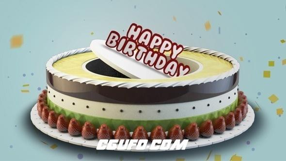 2582生日快乐卡通蛋糕动画AE模版,Happy Birthday