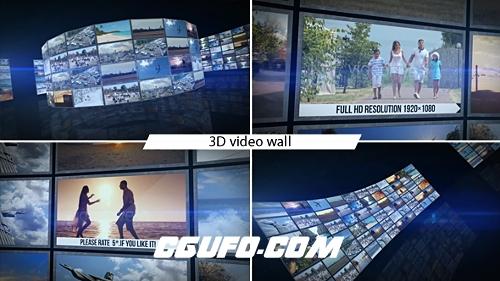 2670-3D照片视频墙动画AE模版含配乐素材,Video Wall