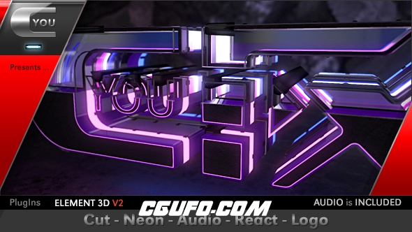 7247E3D模版霓虹灯3D logo演绎动画特效AE模版,Cut Neon Audio React Logo