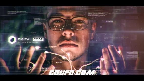 7260科技感元素视差图片开场AE模版,Digital Code Slideshow