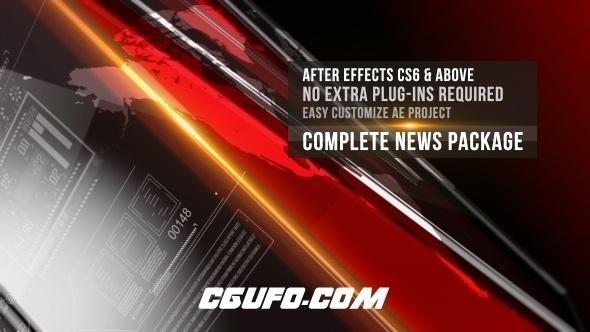 7306新闻电视栏目包装动画AE模版,News Complete Package