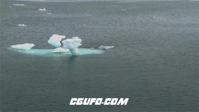 3027-一望无际大海冰雪融化海上飘浮雪白冰块随海浪飘荡海景高清视频拍摄