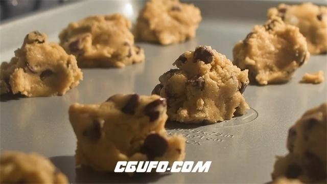 3040-美味甜点烤饼干粉团膨胀缩小食品烤制延时记录高清视频摄影