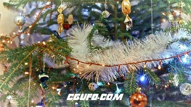 3097-圣诞节豪华华丽装饰圣诞树灯光闪亮动态镜头背景视频素材