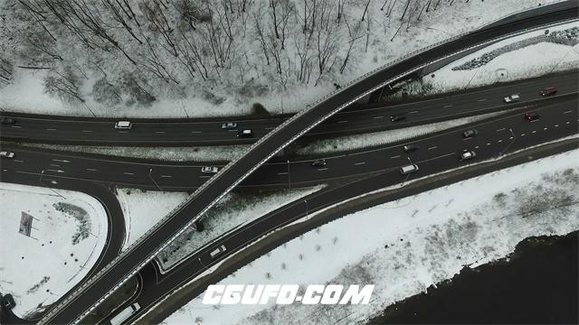3114-城市高速道路立交无人机垂直上升聚焦放大航拍高清实拍视频素材