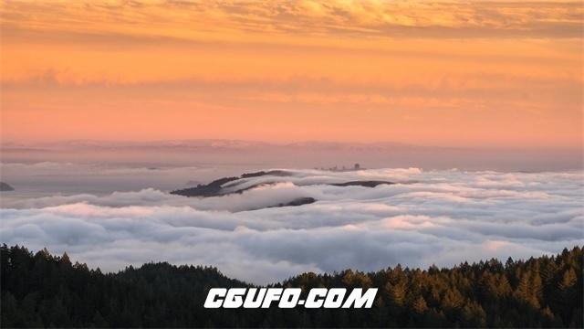 3134-日落黄昏太阳照映射水面高山山脉自然风光景色镜头高清实拍视频素材