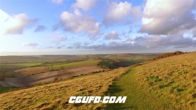 3145-广阔无边大草原陡然升高地带快镜头自然风光景色高清实拍视频素材