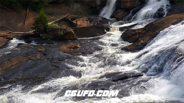 3155-清澈溪水瀑布流动美丽岩石山景细水长流自然意境高清实拍视频素材