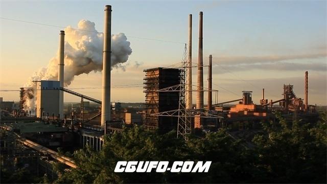 3190-建筑周边工业工厂烟筒废气排放大烟滚滚环保检测镜头高清实拍视频素材