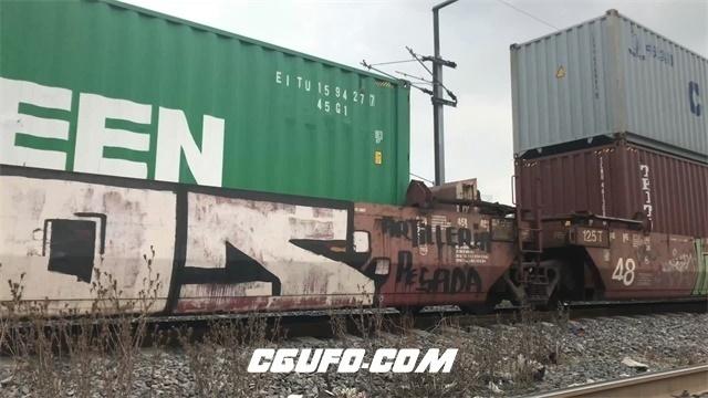 3271-4K货运列车铁路轨道上行驶火车货车厢运输货物镜头高清实拍视频素材