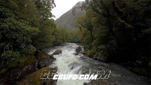 3289-清澈森林河流水流两岸展现树林山清水秀自然景色镜头高清实拍视频素材