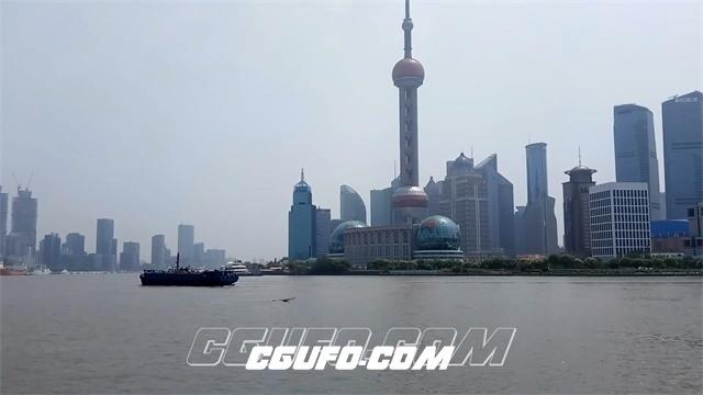 3291-上海繁华城市东方明珠游江船只快速闪过延时快镜头高清实拍视频素材