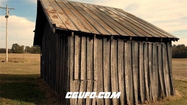 3296-4K空旷草原古老房屋建筑大自然森林自然景色远镜头高清实拍视频素材