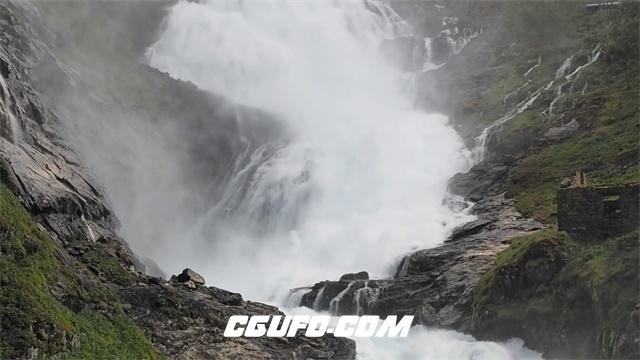 3313-壮观瀑布河流顺流直下烟雾弥漫高山河流景色延时高清实拍视频素材